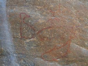 P5027704 - Rotstekeningen Pinguïn en walvissen Tsodilo Hills