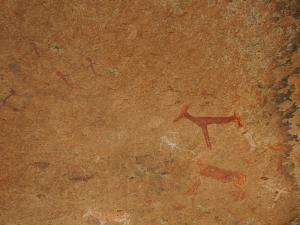 P6081157 - Dieren met mensenbenen rotstekeningen Brandberg